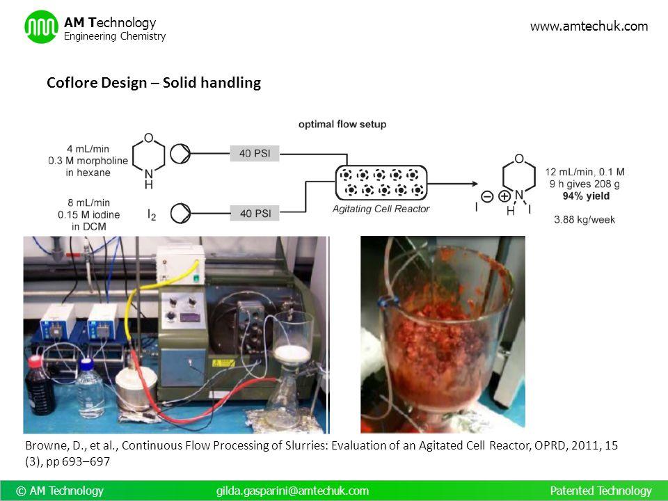 © AM Technology gilda.gasparini@amtechuk.com Patented Technology www.amtechuk.com AM Technology Engineering Chemistry Coflore Design – Solid handling