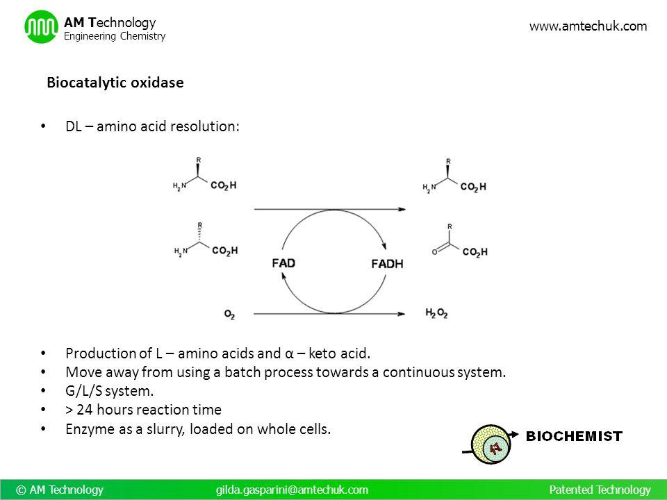© AM Technology gilda.gasparini@amtechuk.com Patented Technology www.amtechuk.com AM Technology Engineering Chemistry DL – amino acid resolution: Prod