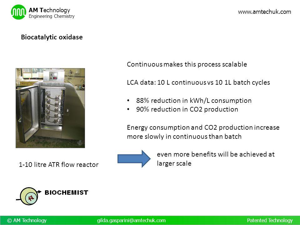 © AM Technology gilda.gasparini@amtechuk.com Patented Technology www.amtechuk.com AM Technology Engineering Chemistry 1-10 litre ATR flow reactor Bioc