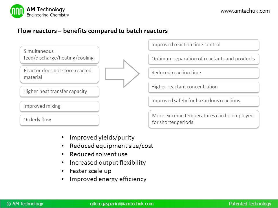 © AM Technology gilda.gasparini@amtechuk.com Patented Technology www.amtechuk.com AM Technology Engineering Chemistry Flow reactors – benefits compare