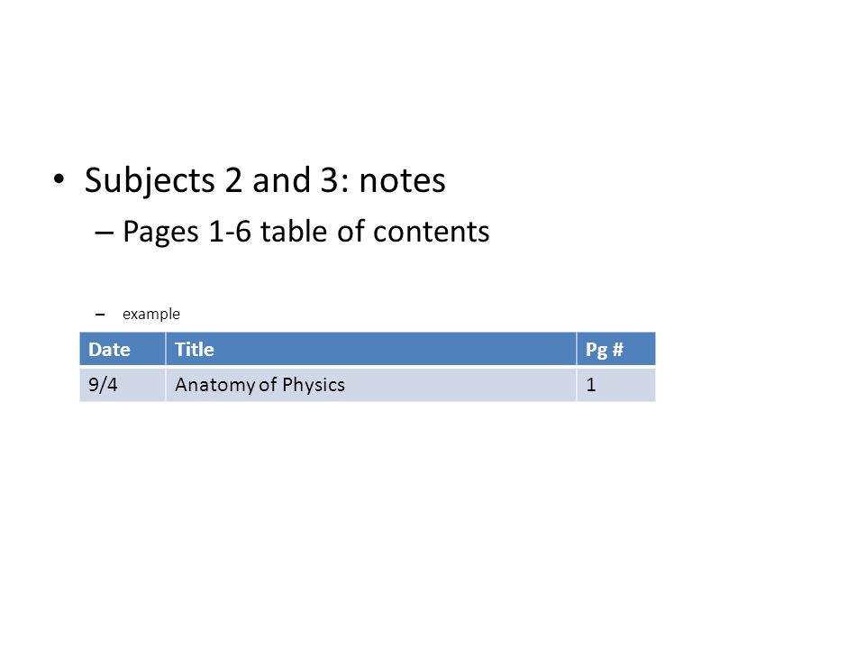Subjects 2 and 3: notes – Pages 1-6 table of contents – example DateTitlePg # 9/4Anatomy of Physics1