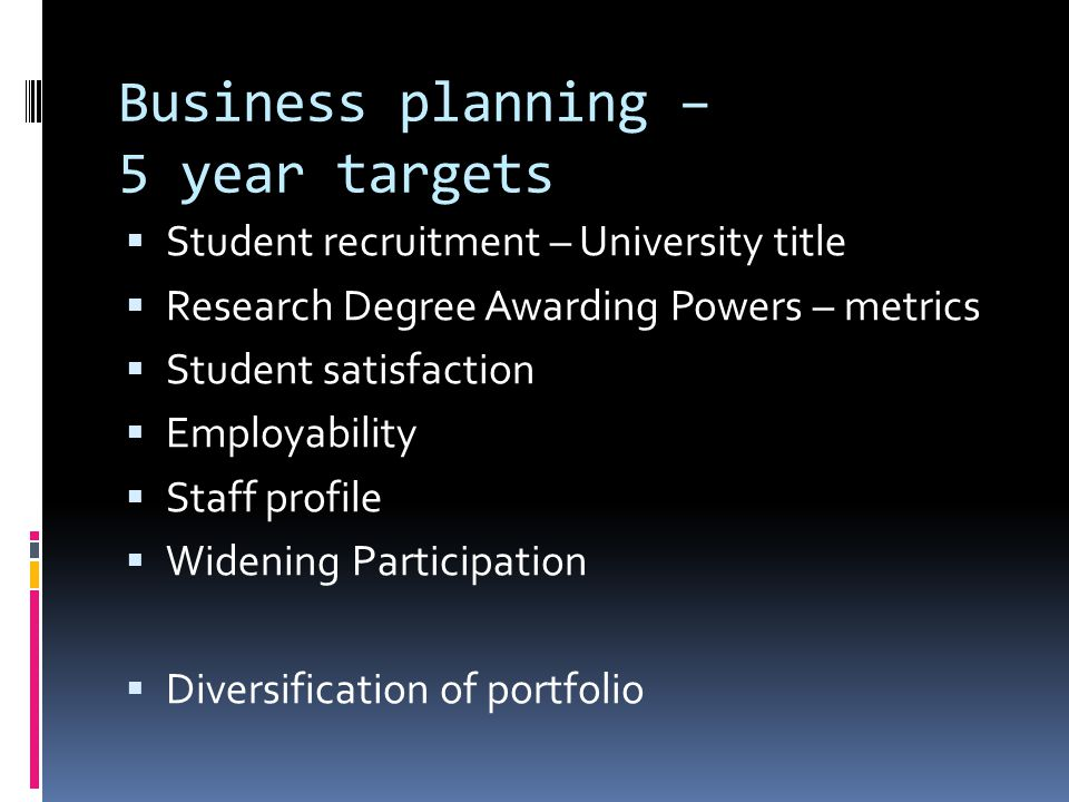 Business planning – 5 year targets  Student recruitment – University title  Research Degree Awarding Powers – metrics  Student satisfaction  Employability  Staff profile  Widening Participation  Diversification of portfolio