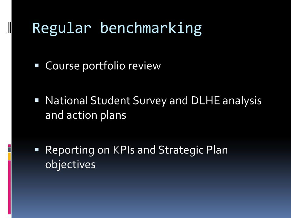 Regular benchmarking  Course portfolio review  National Student Survey and DLHE analysis and action plans  Reporting on KPIs and Strategic Plan objectives