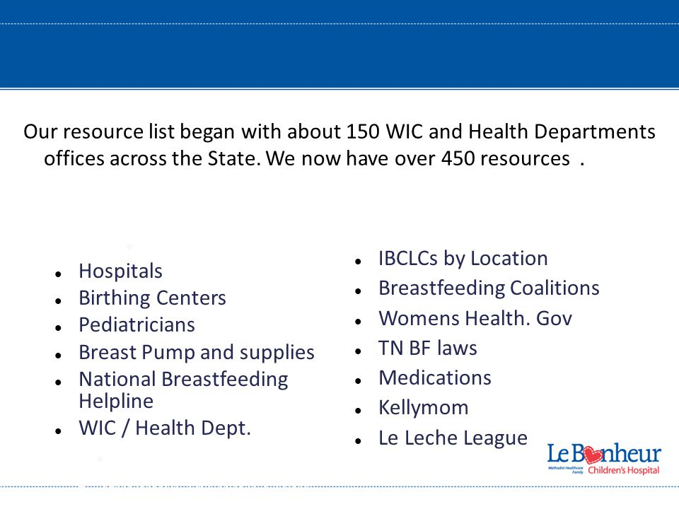 Hospitals Bi Centers Pediatricians Hospitals Birthing Centers Pediatricians Breast Pump and supplies National Breastfeeding Helpline WIC / Health Dept