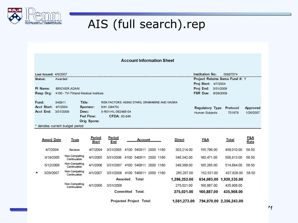 The Office of Research Services The Office of Research Support Services 71 REVISED April, 2012 AIS (full search).rep