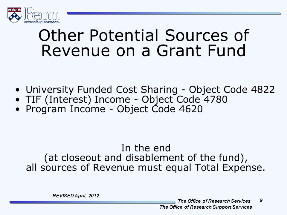 The Office of Research Services The Office of Research Support Services 9 REVISED April, 2012 Other Potential Sources of Revenue on a Grant Fund University Funded Cost Sharing - Object Code 4822 TIF (Interest) Income - Object Code 4780 Program Income - Object Code 4620 In the end (at closeout and disablement of the fund), all sources of Revenue must equal Total Expense.
