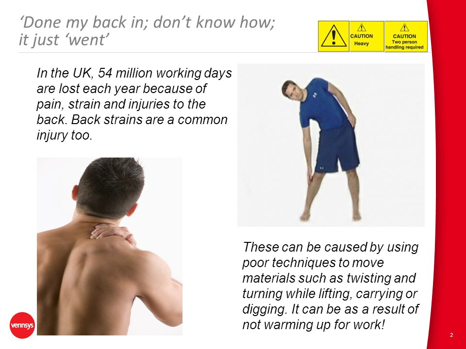 2 'Done my back in; don't know how; it just 'went' In the UK, 54 million working days are lost each year because of pain, strain and injuries to the back.
