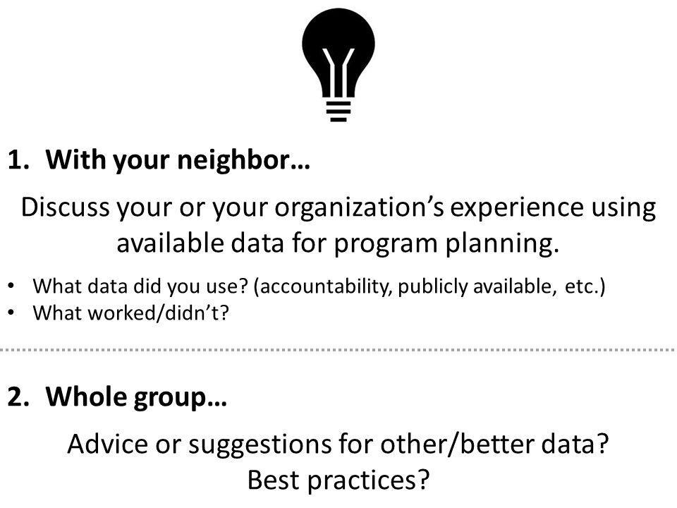 1.With your neighbor… Discuss your or your organization's experience using available data for program planning.