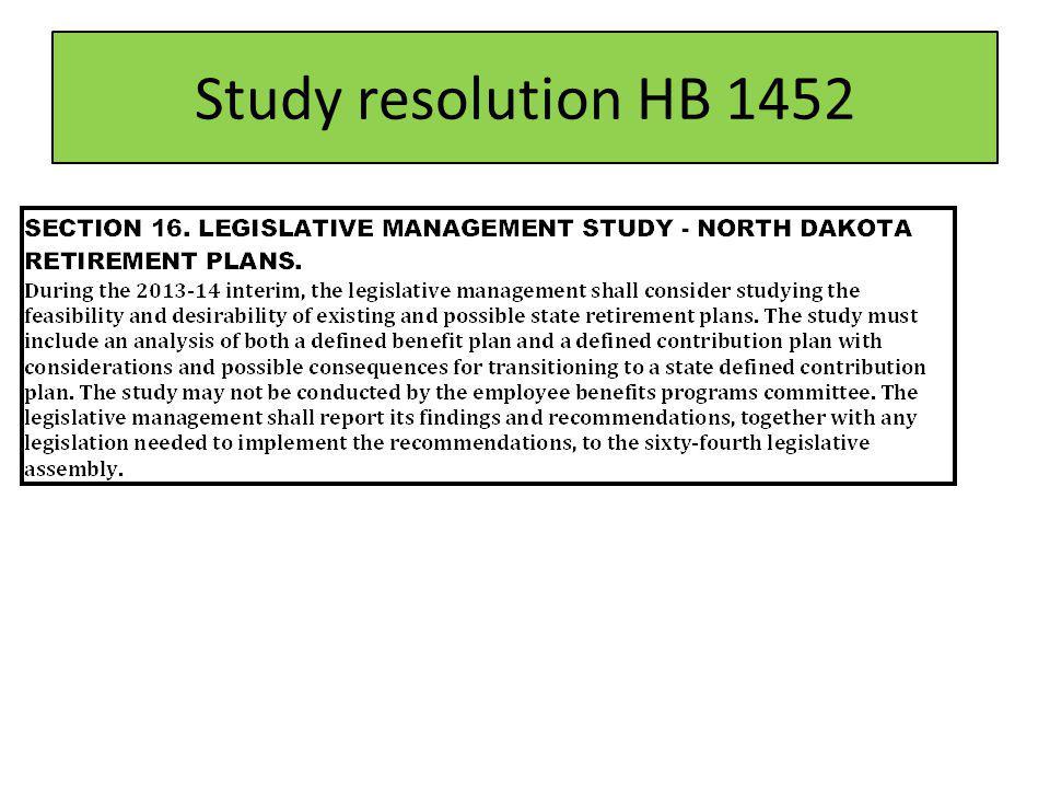 Study resolution HB 1452