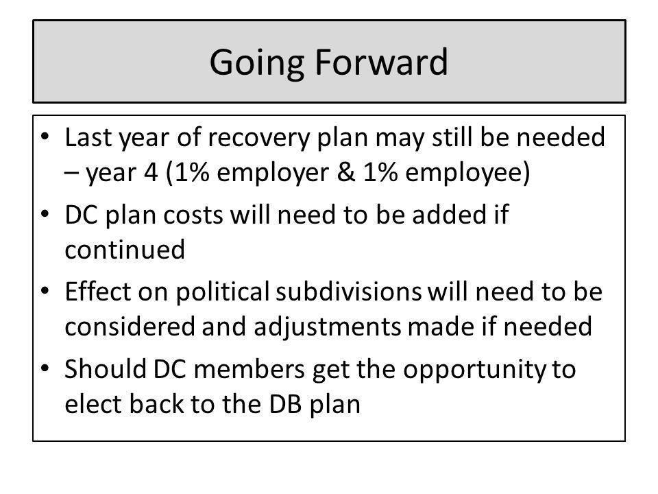 Going Forward Last year of recovery plan may still be needed – year 4 (1% employer & 1% employee) DC plan costs will need to be added if continued Effect on political subdivisions will need to be considered and adjustments made if needed Should DC members get the opportunity to elect back to the DB plan