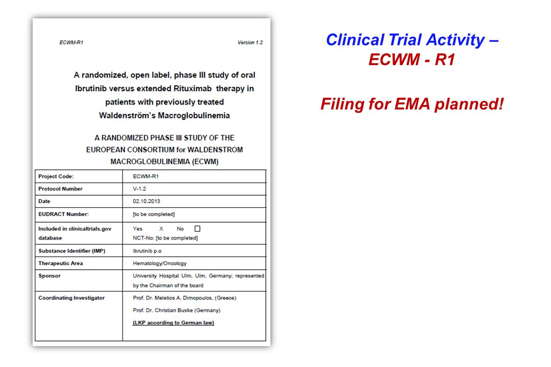 Clinical Trial Activity – ECWM - R1 Filing for EMA planned!