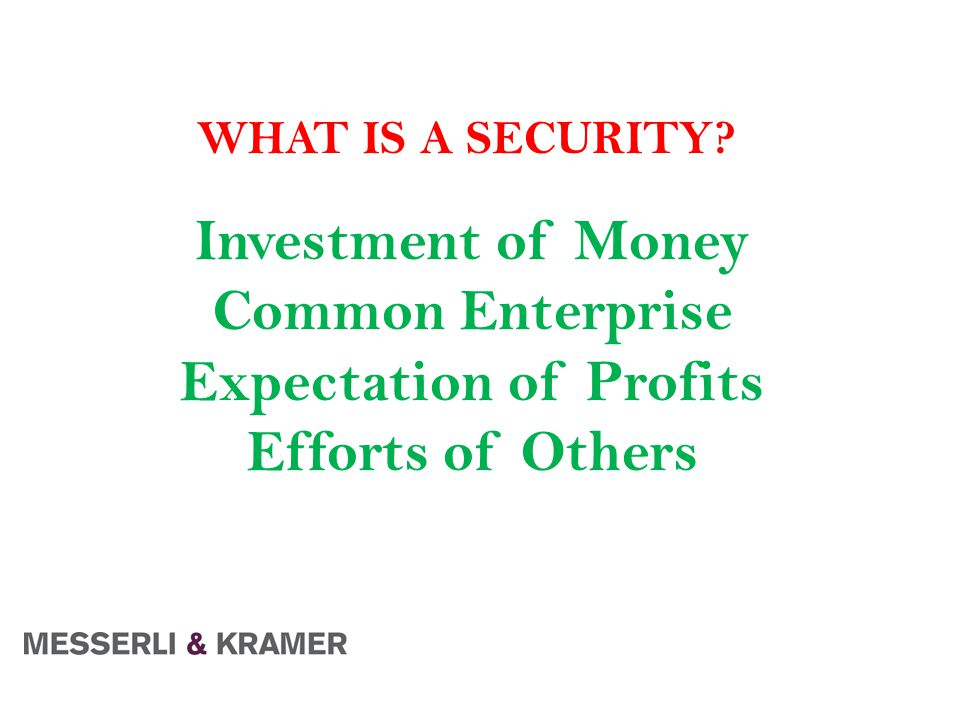 Investment of Money Common Enterprise Expectation of Profits Efforts of Others