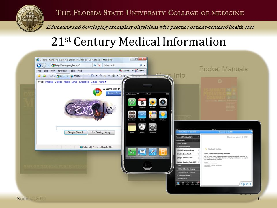 T HE F LORIDA S TATE U NIVERSITY C OLLEGE OF MEDICINE Educating and developing exemplary physicians who practice patient-centered health care 21 st Century Medical Information Summer 20146 Journals Text Books Drug Info Pocket Manuals Note Cards