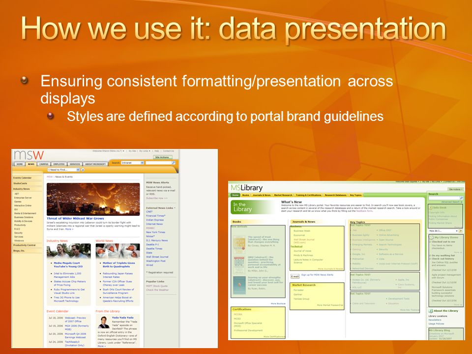 Ensuring consistent formatting/presentation across displays Styles are defined according to portal brand guidelines