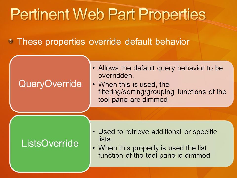 Allows the default query behavior to be overridden.