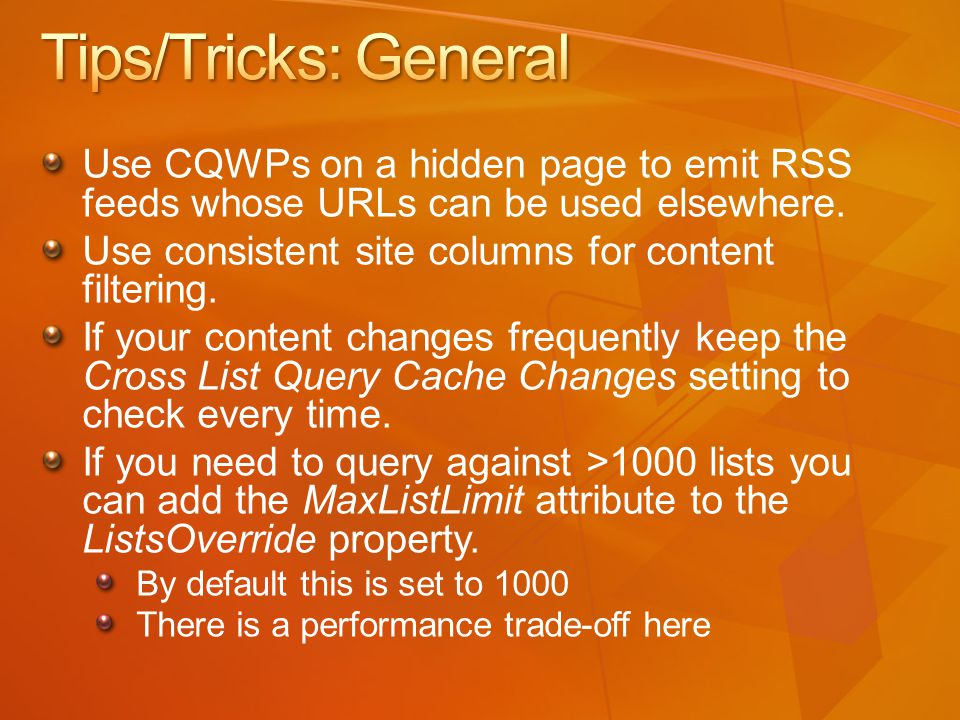 Use CQWPs on a hidden page to emit RSS feeds whose URLs can be used elsewhere.