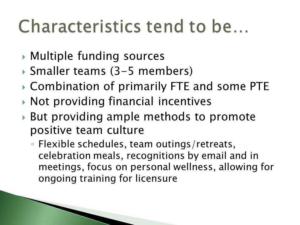  Multiple funding sources  Smaller teams (3-5 members)  Combination of primarily FTE and some PTE  Not providing financial incentives  But providing ample methods to promote positive team culture ◦ Flexible schedules, team outings/retreats, celebration meals, recognitions by email and in meetings, focus on personal wellness, allowing for ongoing training for licensure