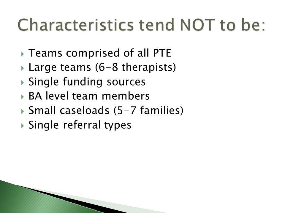  Teams comprised of all PTE  Large teams (6-8 therapists)  Single funding sources  BA level team members  Small caseloads (5-7 families)  Single referral types