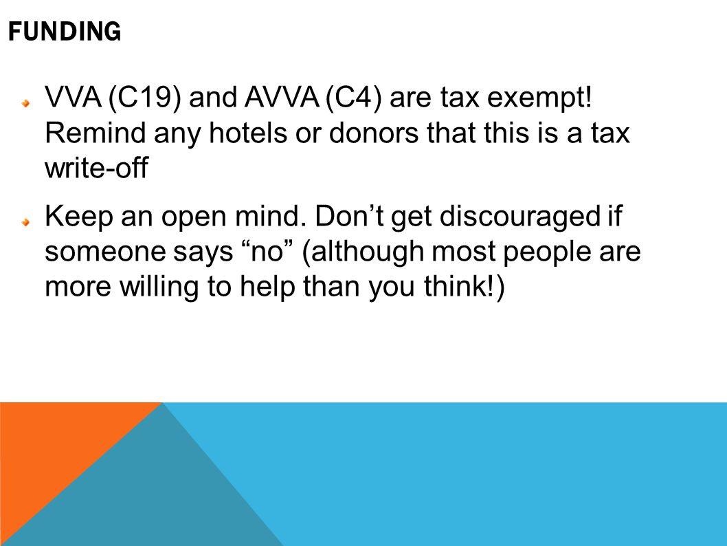 FUNDING VVA (C19) and AVVA (C4) are tax exempt.