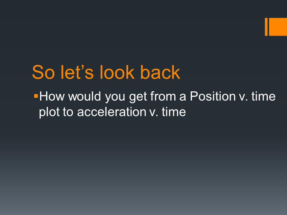 So let's look back  How would you get from a Position v. time plot to acceleration v. time