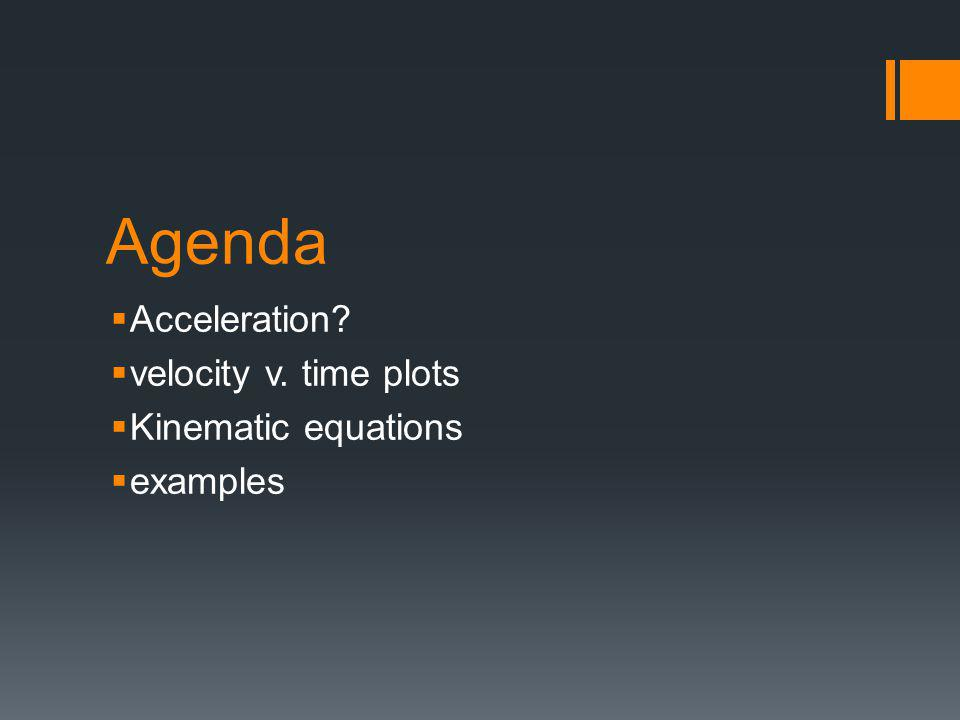 Agenda  Acceleration?  velocity v. time plots  Kinematic equations  examples