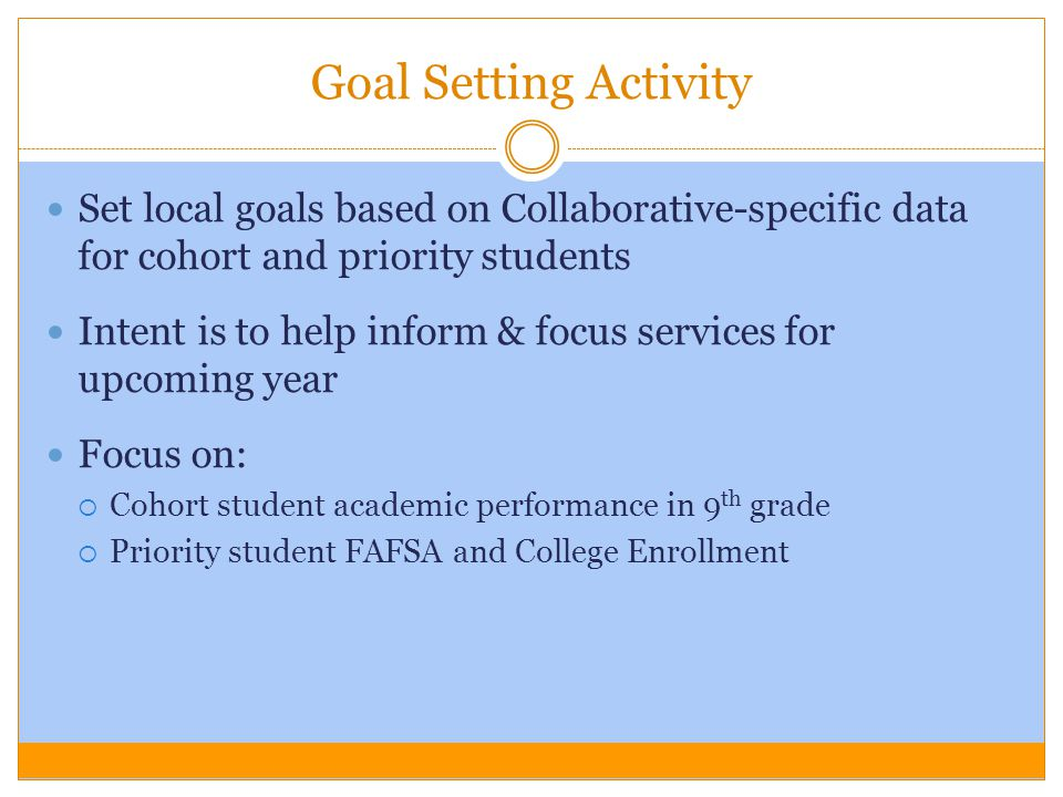 Goal Setting Activity Set local goals based on Collaborative-specific data for cohort and priority students Intent is to help inform & focus services