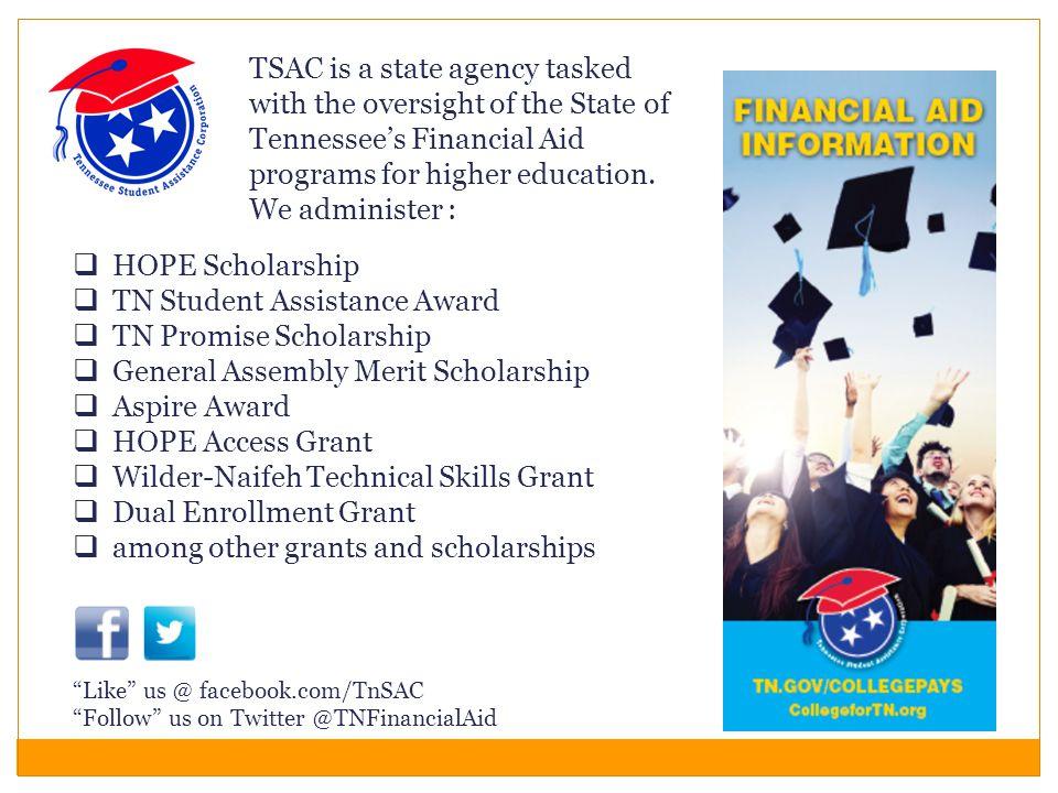  HOPE Scholarship  TN Student Assistance Award  TN Promise Scholarship  General Assembly Merit Scholarship  Aspire Award  HOPE Access Grant  Wi
