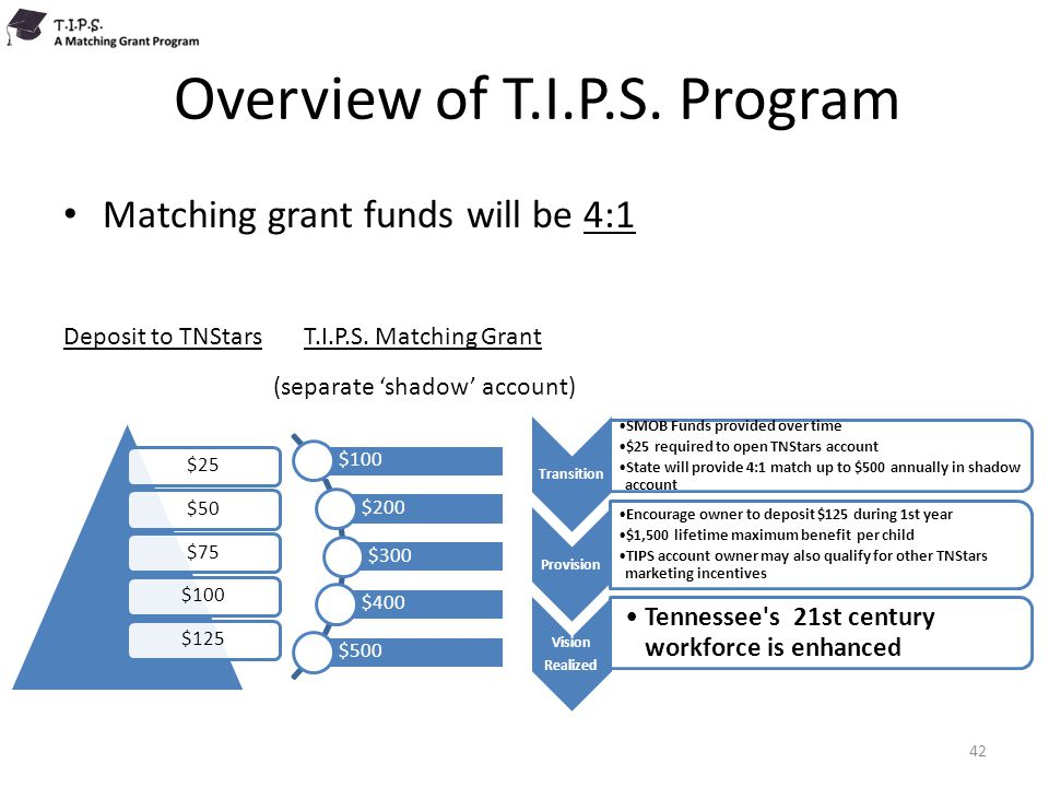 Overview of T.I.P.S. Program Matching grant funds will be 4:1 Deposit to TNStars T.I.P.S. Matching Grant (separate 'shadow' account) 42 $25$50$75$100$