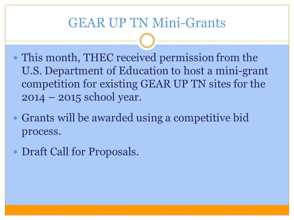 This month, THEC received permission from the U.S. Department of Education to host a mini-grant competition for existing GEAR UP TN sites for the 2014