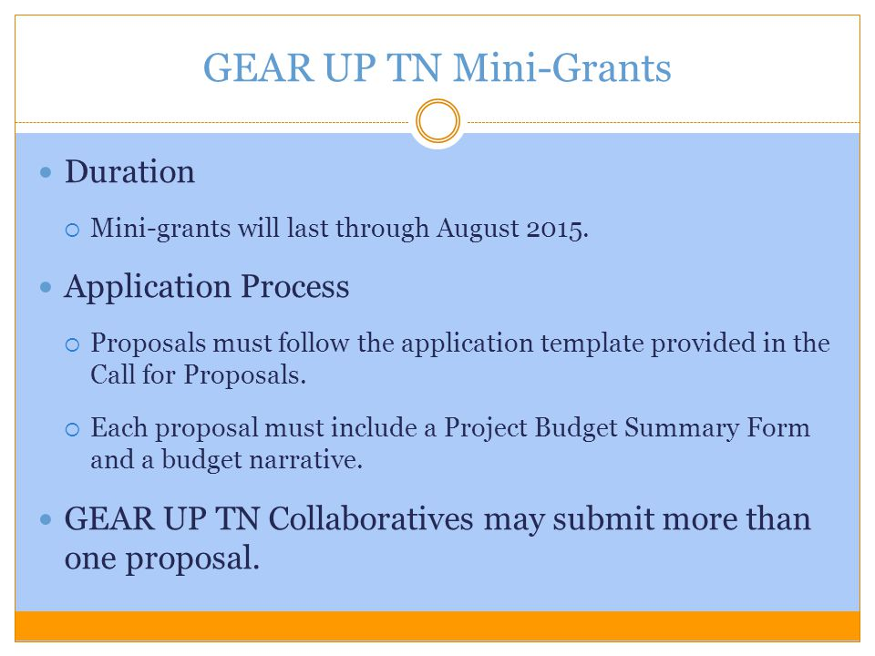 Duration  Mini-grants will last through August 2015. Application Process  Proposals must follow the application template provided in the Call for Pr