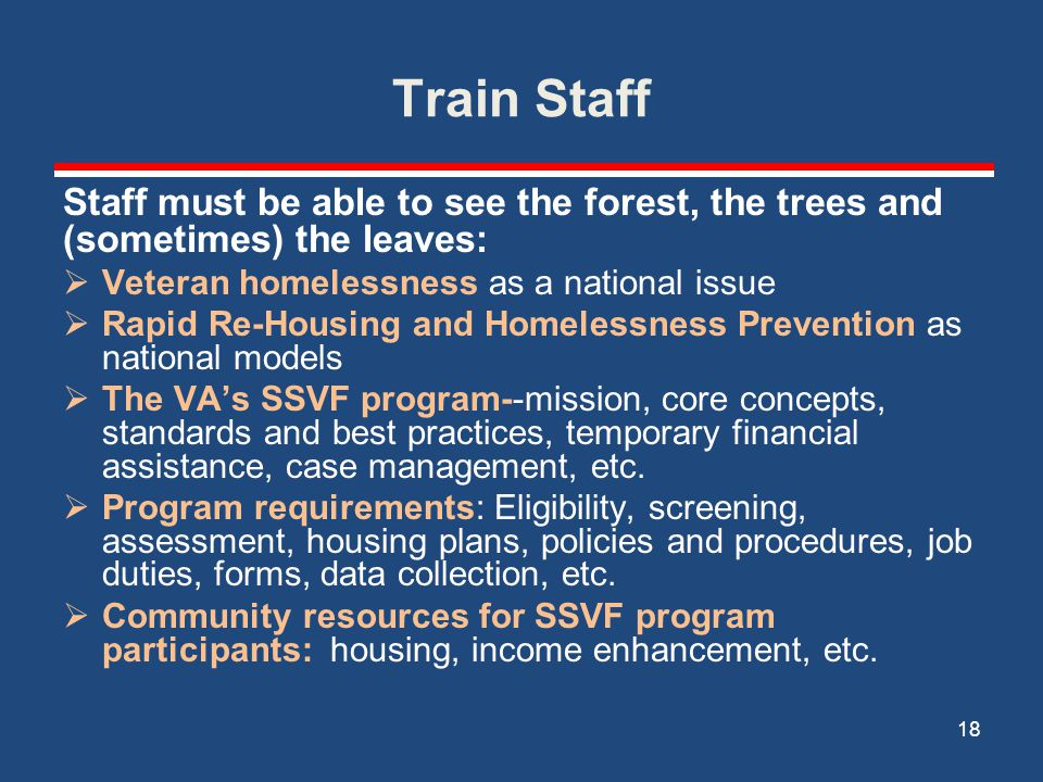 Train Staff Staff must be able to see the forest, the trees and (sometimes) the leaves:  Veteran homelessness as a national issue  Rapid Re-Housing