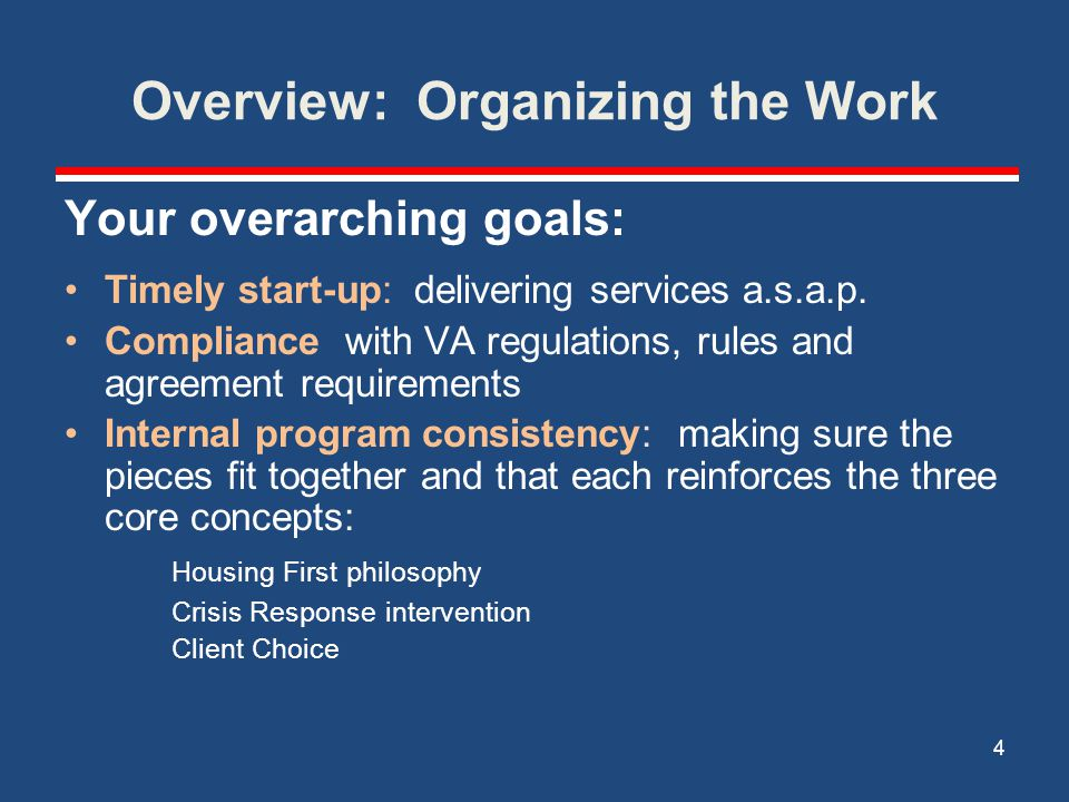 Overview: Organizing the Work Your overarching goals: Timely start-up: delivering services a.s.a.p. Compliance with VA regulations, rules and agreemen