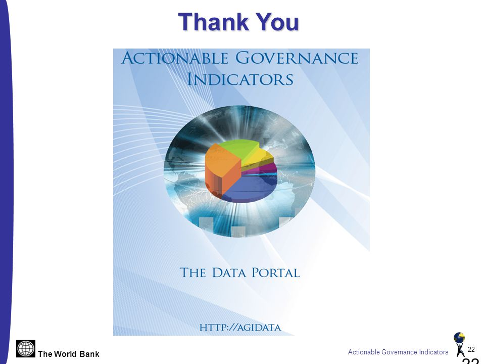 The World Bank Actionable Governance Indicators 22 Thank You