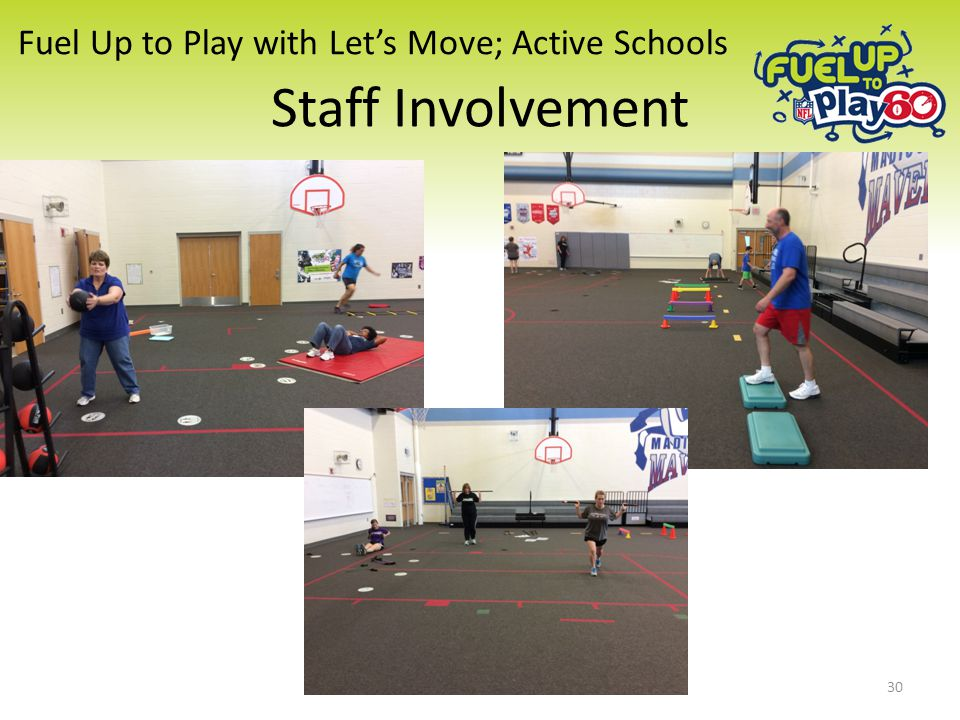 Fuel Up to Play with Let's Move; Active Schools Staff Involvement 30