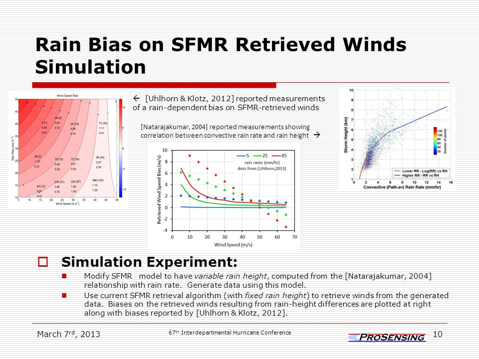 Rain Bias on SFMR Retrieved Winds Simulation  Simulation Experiment: Modify SFMR model to have variable rain height, computed from the [Natarajakumar, 2004] relationship with rain rate.