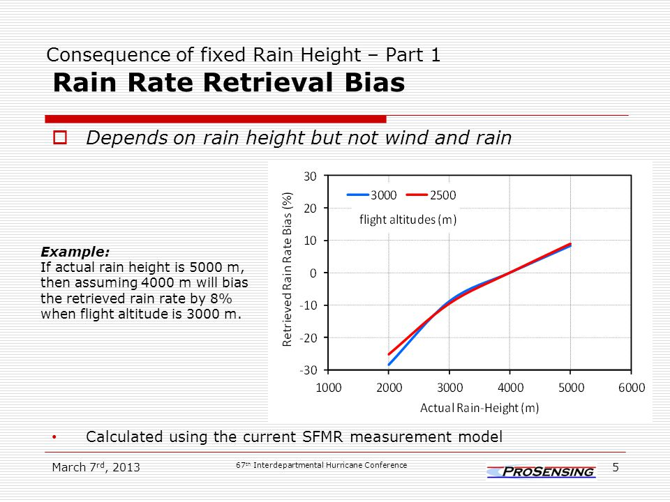 Consequence of Fixed Rain Height – Part 2 Low Wind Speed Rate Retrieval Bias Depends on wind, rain and rain height March 7 rd, 2013 67 th Interdepartmental Hurricane Conference 6 Example: If actual rain height is 5000 m, then assuming 4000 m will bias the retrieved wind by 7% when actual wind is 10 m/s, rain rate is 30 mm/hr, and flight altitude is 3000 m.