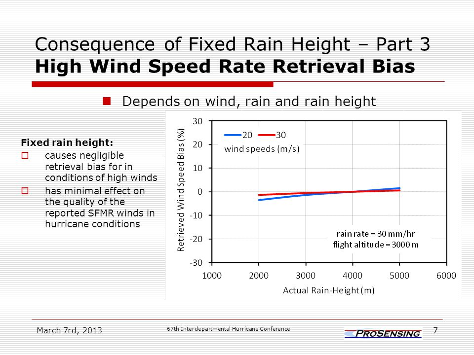 Consequence of Fixed Rain Height – Part 3 High Wind Speed Rate Retrieval Bias Depends on wind, rain and rain height March 7rd, 2013 67th Interdepartmental Hurricane Conference 7 Fixed rain height:  causes negligible retrieval bias for in conditions of high winds  has minimal effect on the quality of the reported SFMR winds in hurricane conditions
