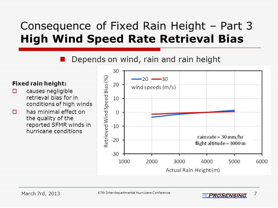 In perspective SFMR system error  SFMR measurement precision (NEDT) causes random error in retrieved winds.