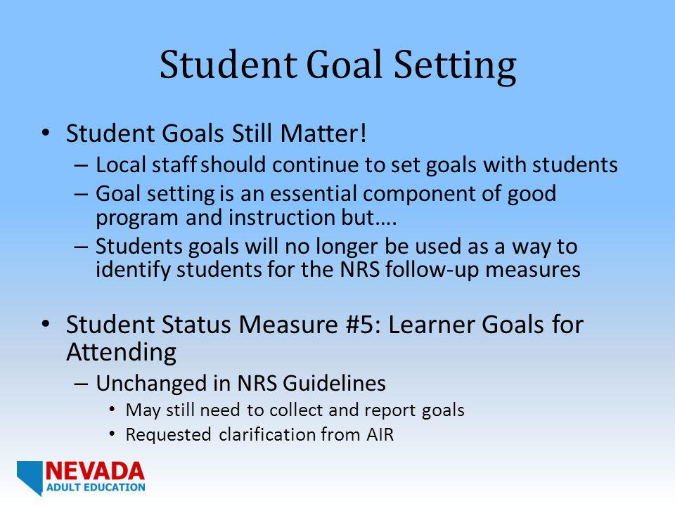 Student Goal Setting Student Goals Still Matter.