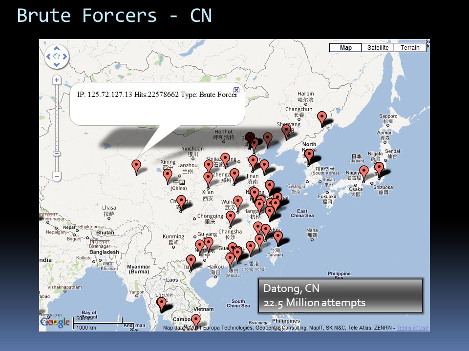 Brute Forcers - CN Datong, CN 22.5 Million attempts
