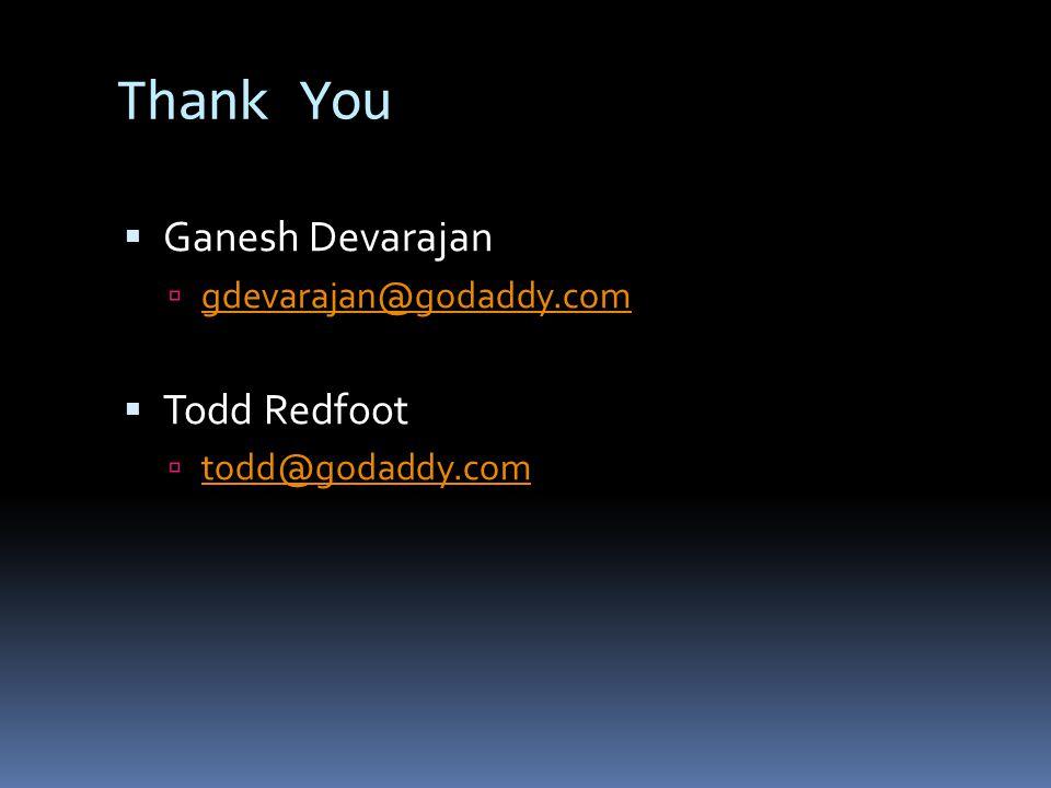 Thank You  Ganesh Devarajan  gdevarajan@godaddy.com gdevarajan@godaddy.com  Todd Redfoot  todd@godaddy.com todd@godaddy.com
