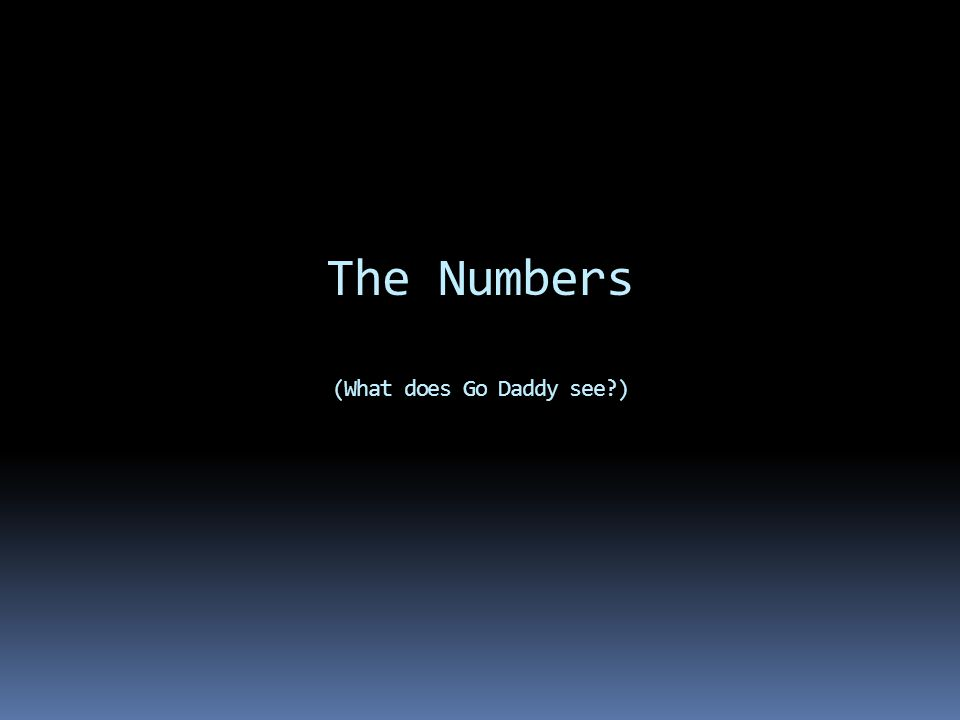 The Numbers (What does Go Daddy see?)