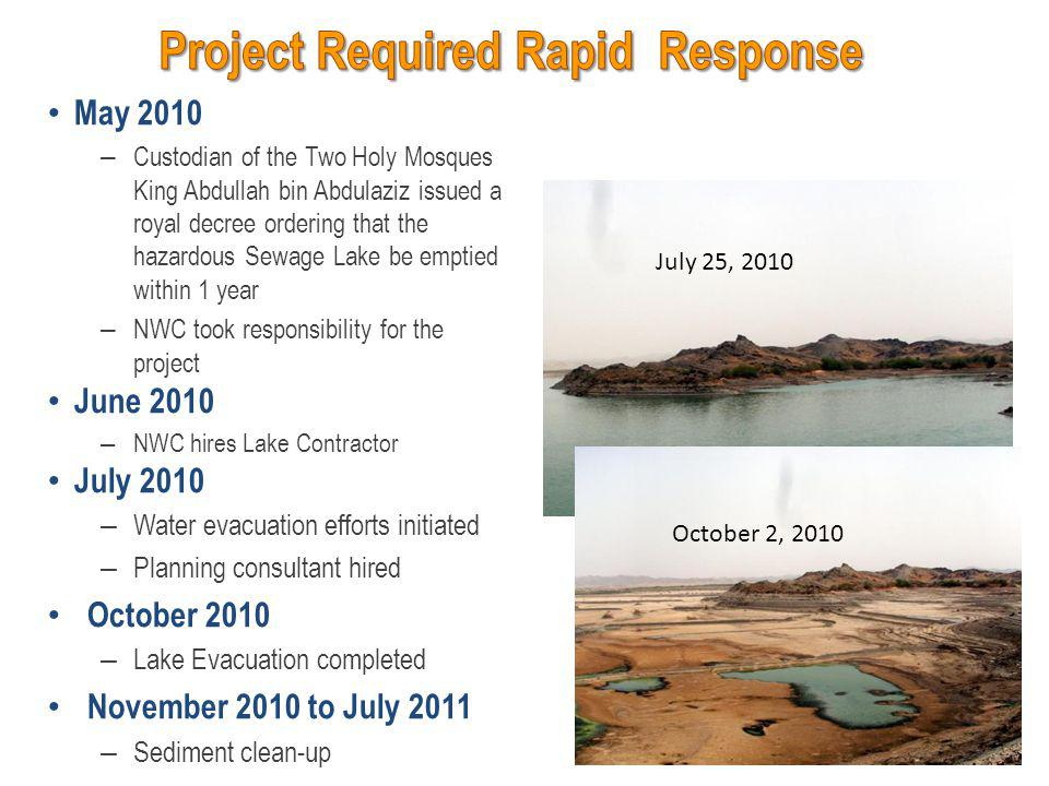 Lake evacuation – Delayed because of availability of pumps – Started in March 2011 – Completed in May 2011 Sampling grid – Final grid included 205 cells – Thick vegetation along margins prevented sampling of infrequently flooded areas