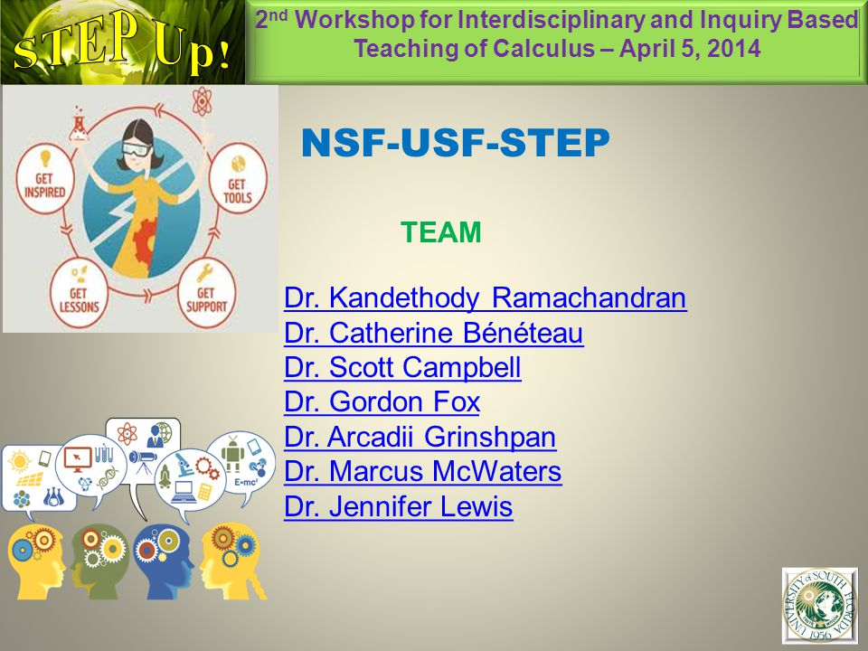 2 nd Workshop for Interdisciplinary and Inquiry Based Teaching of Calculus – April 5, 2014 1 NSF-USF-STEP TEAM Dr.