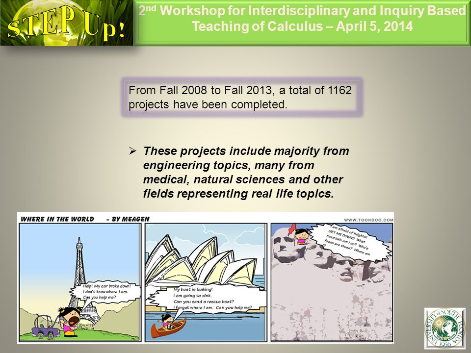 2 nd Workshop for Interdisciplinary and Inquiry Based Teaching of Calculus – April 5, 2014 5 From Fall 2008 to Fall 2013, a total of 1162 projects have been completed.