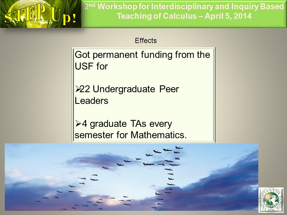 2 nd Workshop for Interdisciplinary and Inquiry Based Teaching of Calculus – April 5, 2014 8 Effects Got permanent funding from the USF for  22 Undergraduate Peer Leaders  4 graduate TAs every semester for Mathematics.