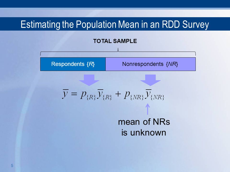 5 Estimating the Population Mean in an RDD Survey Respondents {R}Nonrespondents TOTAL SAMPLE Nonrespondents {NR} mean of NRs is unknown