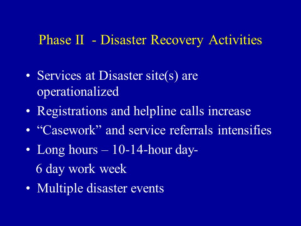 High Stress Levels at Disaster Site(s) and Call Centers Similar to 911 Dispatch Workers Real People in Real Crisis Suicidal Threats or Ideation The Victim/Survivor is in my head