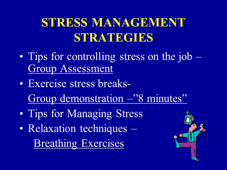 INVENTORY AND IDENTIFICATION OF STRESS REDUCERS Stress in all areas of life Changing specific symptoms Controlling stress
