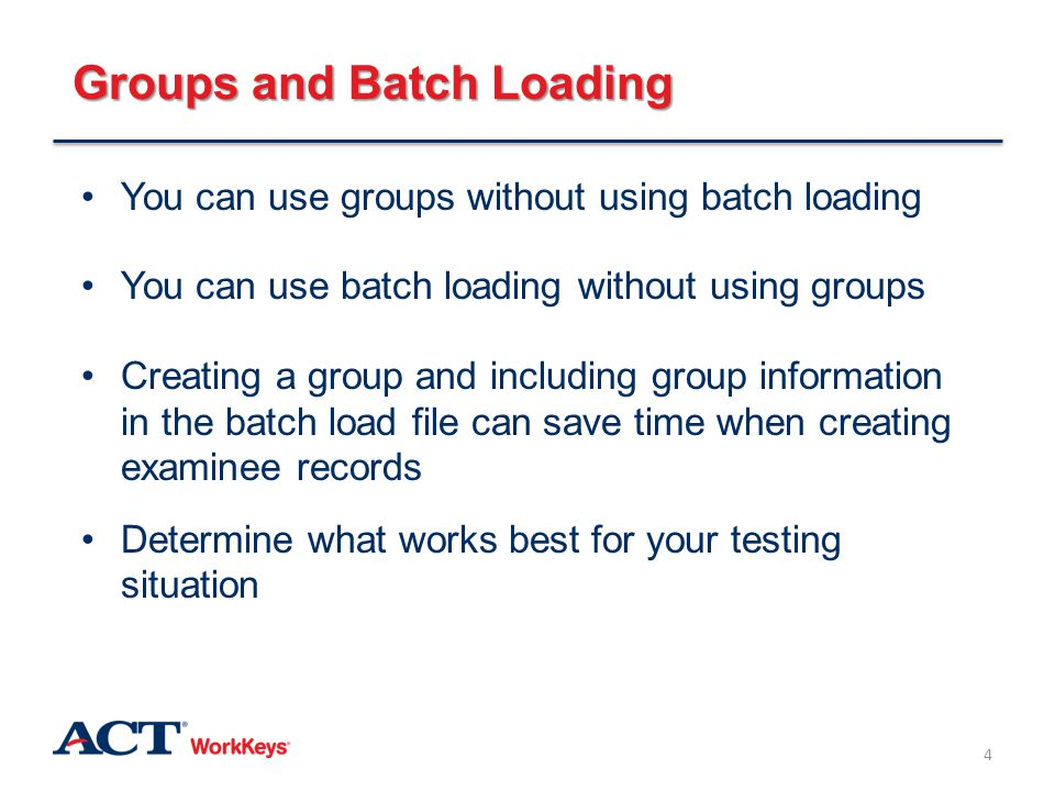 Group Administration Groups are useful when everyone is taking the same test or set of tests You can authorize tests by group rather than by individual Groups allow you to pull group reports from the Reports Portal 5